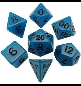 Metallic Dice Games 16mm Polyhedral Dice Set Glow Blue