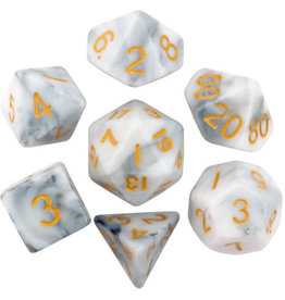Metallic Dice Games 16mm Polyhedral Dice Set Marble w/ Gold Numbers