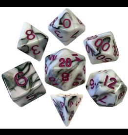Metallic Dice Games 16mm Polyhedral Dice Set Marble w/ Purple Numbers