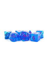 Metallic Dice Games 16mm Polyhedral Dice Set Stardust Blue w/ Purple Numbers