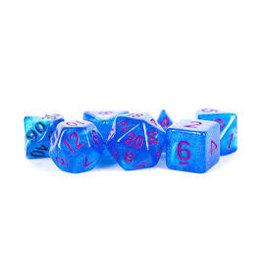 Metallic Dice Games 16mm Polyhedral Dice Set Stardust Blue w/ Purple Numbers