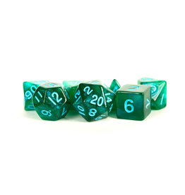 Metallic Dice Games 16mm Polyhedral Dice Set Stardust Green w/ Blue Numbers