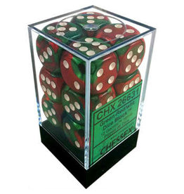 Chessex Gemini Green-Red/white 16mm d6 Dice Block