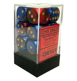 Chessex Gemini Blue-Red/gold 16mm d6 Dice Block