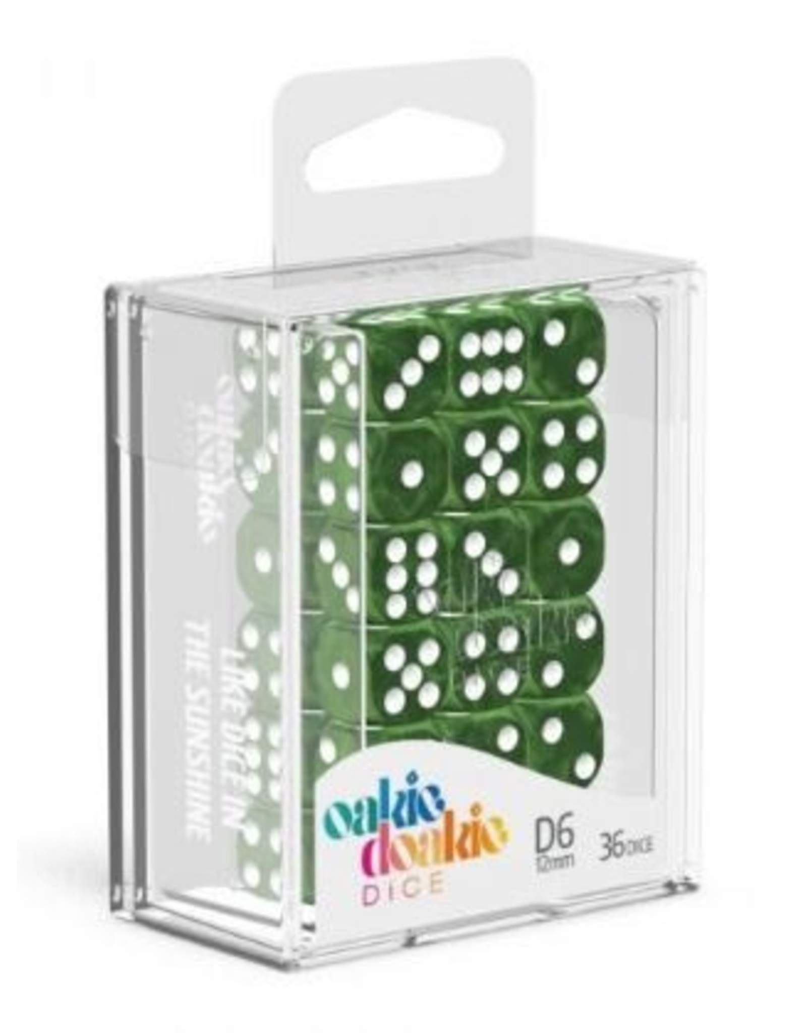 Oakie Doakie Dice D6 12mm Marble Green Kingslayer Games