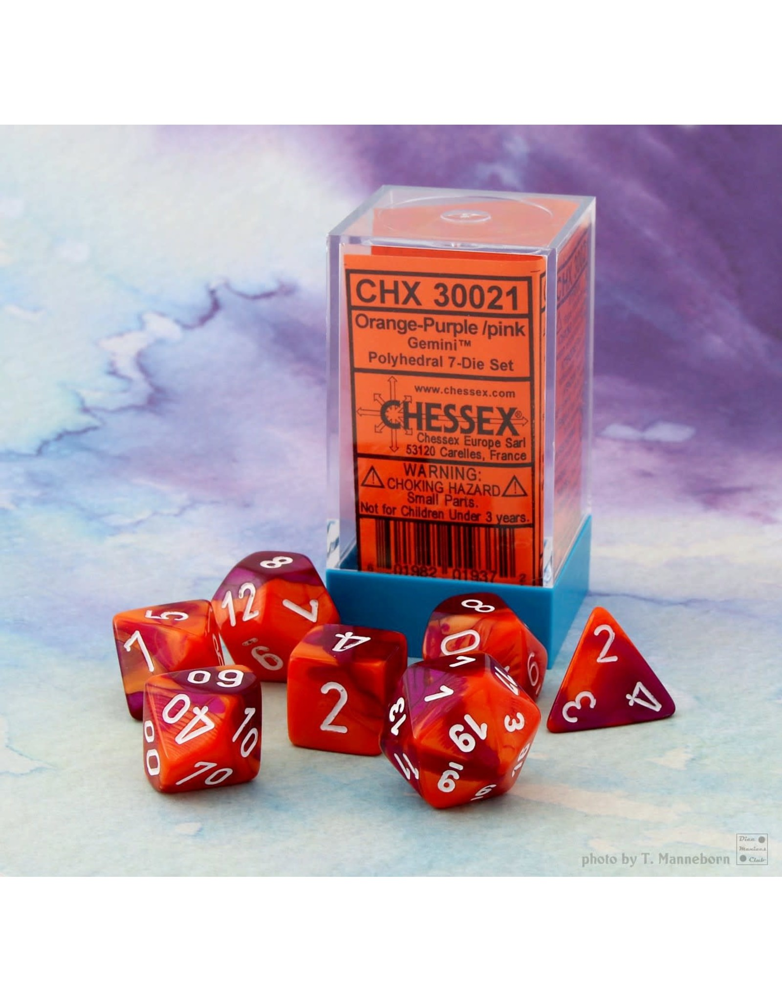 Chessex Gemini Orange-Purple/white Polyhedral 7-Die Set