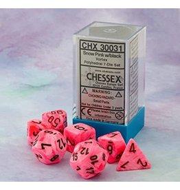Chessex Vortex Snow Pink/black Polyhedral 7-Die Set