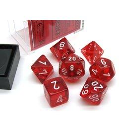 Chessex Translucent Red/White Polyhedral 7-Die Set