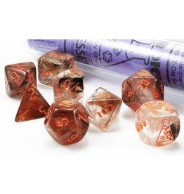 Chessex Lab Dice Nebula Copper Matrix/orange Polyhedral 7-Die Set