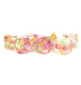 Metallic Dice Games 16mm Resin Poly Dice Set Unicorn: Celestial Blossom