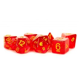 Metallic Dice Games 16mm Resin Poly Dice Set Unicorn: Red