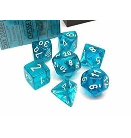 Chessex Translucent Teal/white Polyhedral 7-Die Set