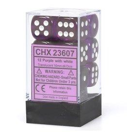 Chessex Translucent Purple/white 16mm d6 Dice Block