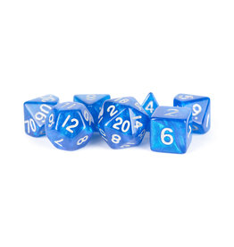 Metallic Dice Games 16mm Polyhedral Dice Set Stardust Blue w/ Silver Numbers