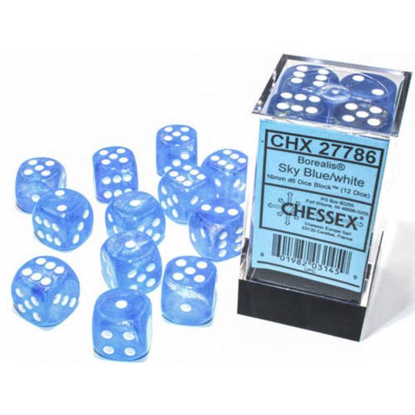 Chessex Borealis Sky Blue/white 16mm d6 Dice Block