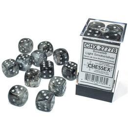 Chessex Borealis Light Smoke/silver 16mm d6 Dice Block