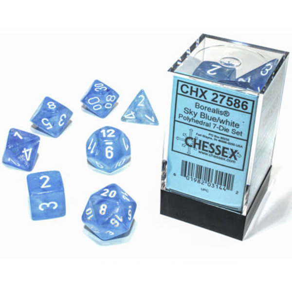 Chessex Borealis Sky Blue/white Polyhedral 7-Die Set