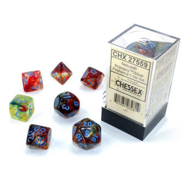 Chessex Nebula Primary/blue Polyhedral 7-Die Set