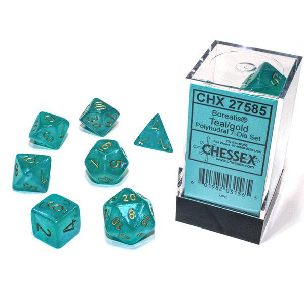 Chessex Borealis Teal/gold Polyhedral 7-Die Set