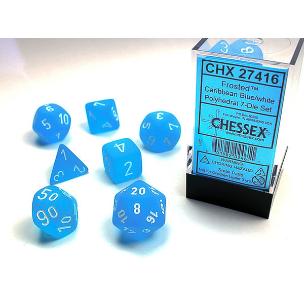 Chessex Frosted Carribean Blue/white Polyhedral 7-Die Set