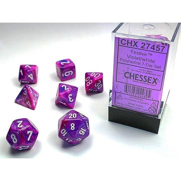 Chessex Festive Violet/white Polyhedral 7-Die Set