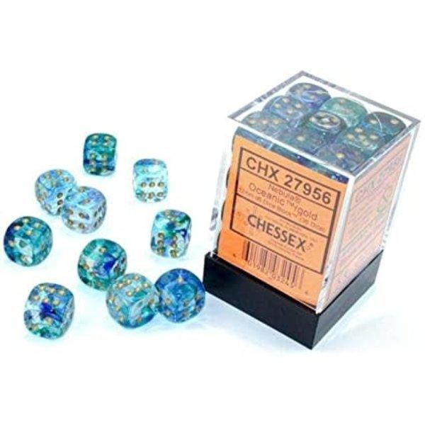 Chessex Nebula Oceanic/gold 12mm d6 Dice Block