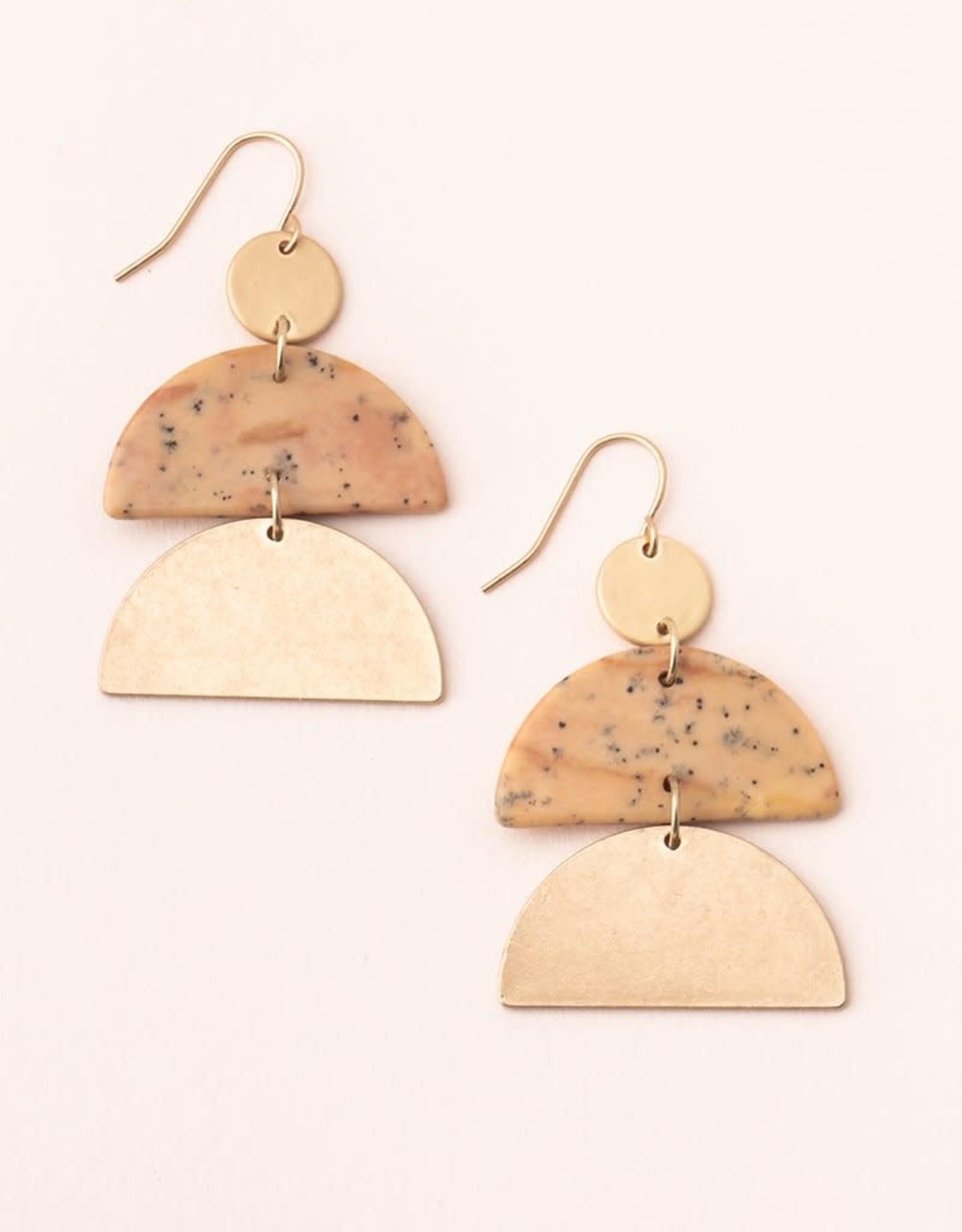 Scout Scout Stone Half Moon Earrings Petrified Wood