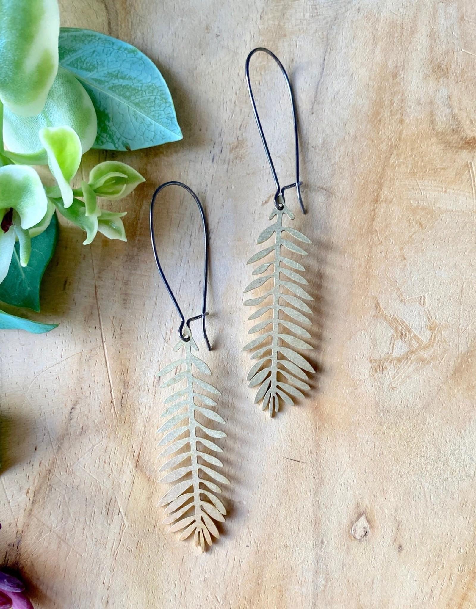 Harlow Brass Leaf Pendant Earrings