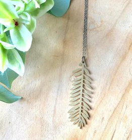 Harlow Brass Leaf Pendant Necklace