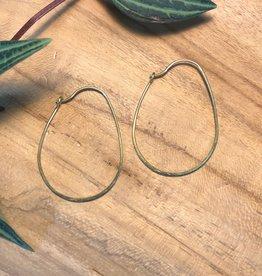Harlow Oval Brass Hoop Earrings