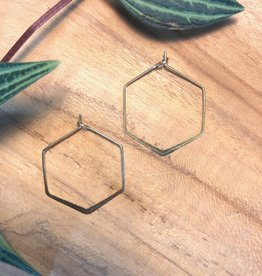 Harlow Hexagon Brass Hoop Earrings