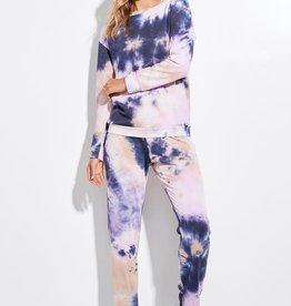 La Vida Tie Dye Lounge  Pants Navy/Lavender