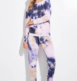 La Vida Tie Dye Lounge Top Navy/Lavender