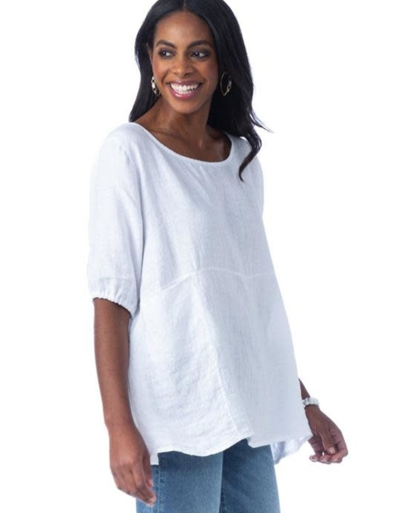 Cobblestone Cobblestone Cheri White Linen Tunic Top