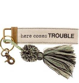 Karma Canvas Tassel Key Chain Trouble