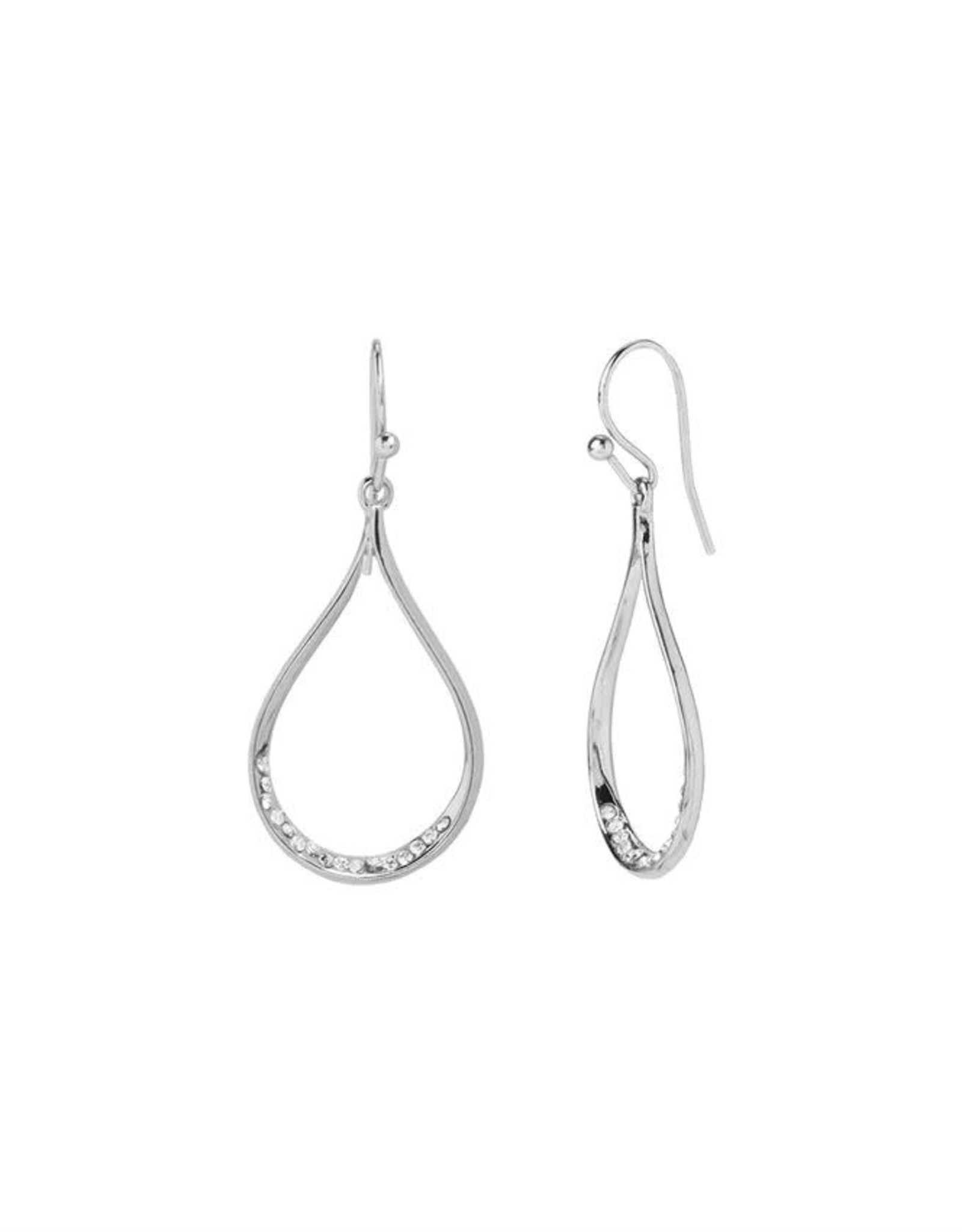 Coco & Carmen Whispers Silver Open Tear Drop Dangle Earrings