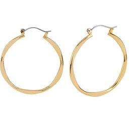 Coco & Carmen Whispers Wavy Hoop Gold Earrings