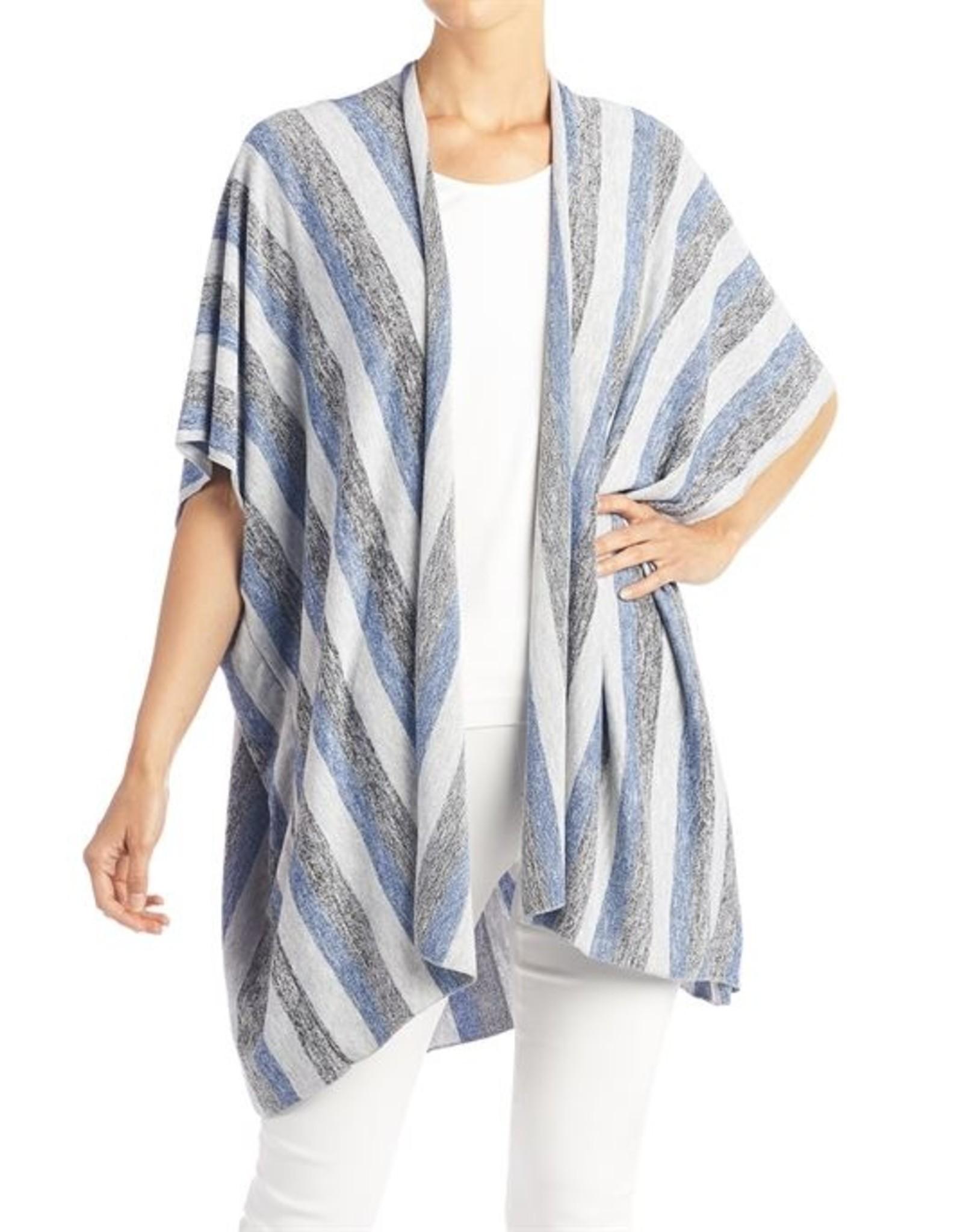 Coco & Carmen Stripe Open Knit Cardigan - Denim Stripes