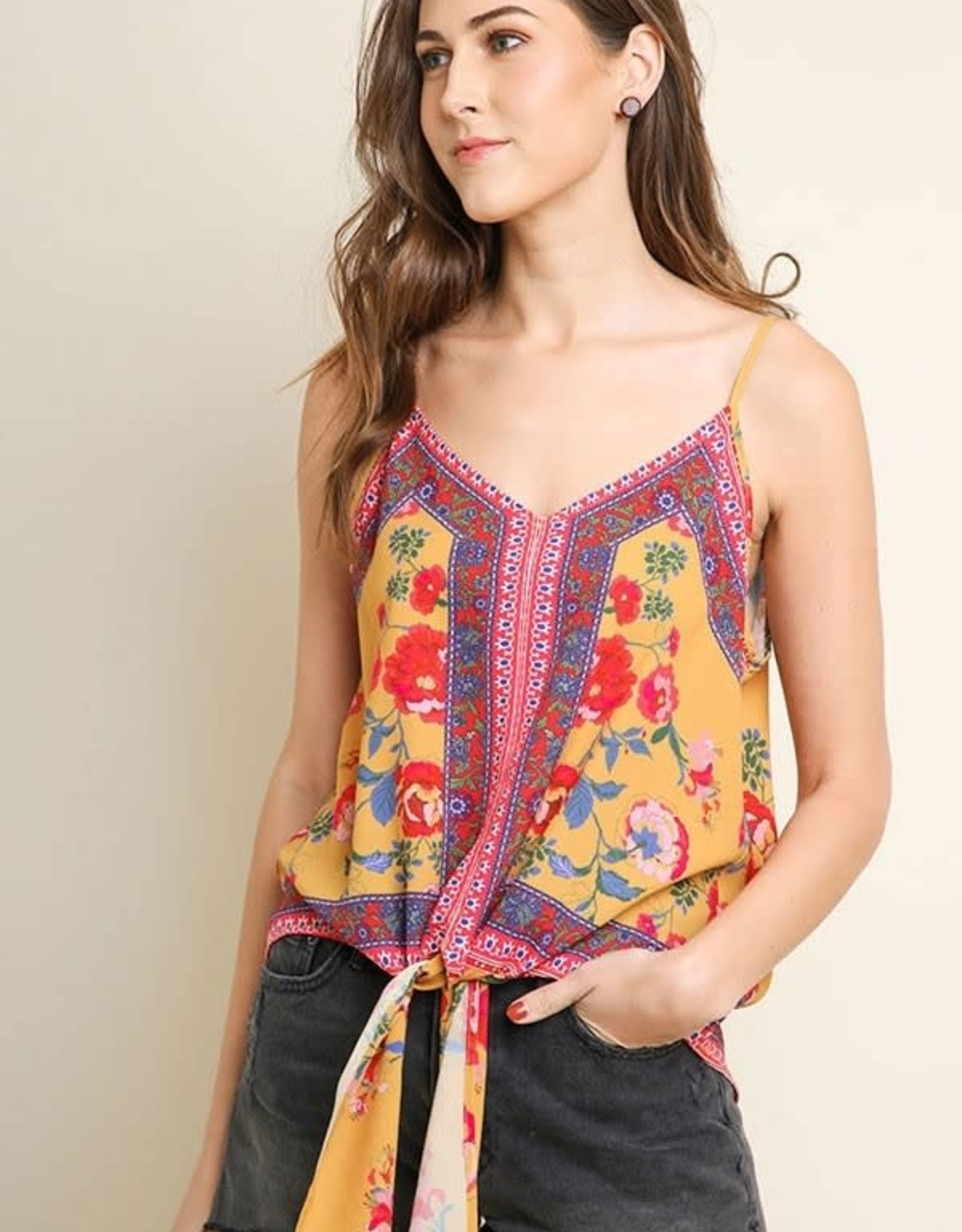 Umgee Floral scarf Print Tie Front Tank