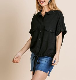 Umgee Linen Blend Short Sleeve Collared Top with Waist Tie