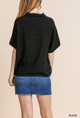 Umgee Linen Blend Short Sleeve Collared Top with Waist Tie