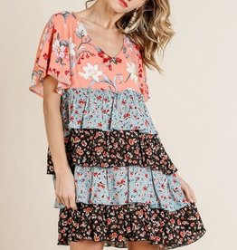 Umgee V-Neck Layered Ruffle Hem Dress
