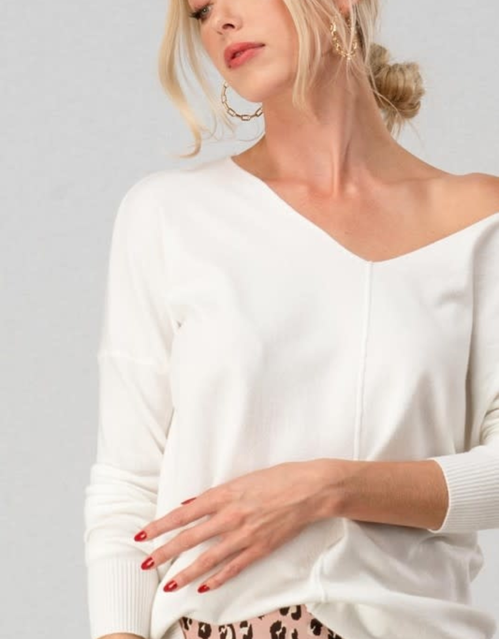 Trend:Notes Off White Tunic Sweater