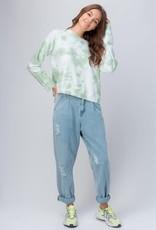 Trend:Notes Olive Tie Dye Drop Shoulder Sweatshirt