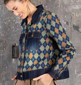 Easel Argyle Printed Denim Jacket