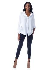 Cobblestone Remi Button down Dolman Sleeve White Shirt
