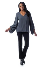 Cobblestone Priya V-Neck Long Sleeve Blouse Top