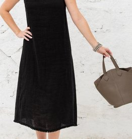 Cobblestone Cobblestone Irene Black Linen Dress w/Bow