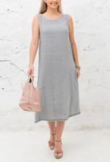 Cobblestone Cobblestone Irene Grey Linen Dress w/Bow