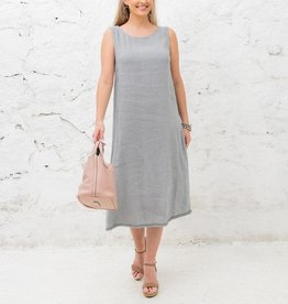Cobblestone Cobblestone Irene Grey Linen Dress w/Bow